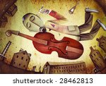 Acoustic double bass player - Classic Jazz - stock photo