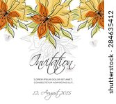 invitation card with floral... | Shutterstock .eps vector #284635412