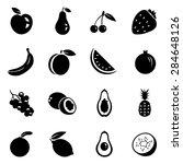 vector set of black fruit icons.... | Shutterstock .eps vector #284648126