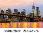 Stock photo  manhattan skyline at sunrise new york city usa 284665976