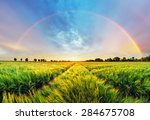Rainbow Rural Landscape With...
