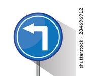 blue traffic circle shaped turn ... | Shutterstock . vector #284696912