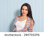 summer  fashion and people... | Shutterstock . vector #284703296