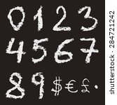 hand written chalk numbers 0  1 ... | Shutterstock .eps vector #284721242