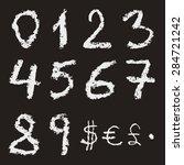 hand written chalk numbers 0  1 ... | Shutterstock .eps vector #284721242