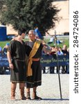Small photo of ROME, ITALY - APRIL 21, 2015: Rome Foundation Anniversary historical reconstruction, Aeneas and his son Ascanio founder of Alba Longa city