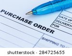close up purchase order with... | Shutterstock . vector #284725655
