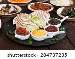 different appetizer and anti... | Shutterstock . vector #284737235