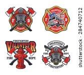 Set Of Firefighter Emblems ...