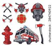 set of designed firefighter... | Shutterstock .eps vector #284740922