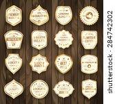 set of retro gold premium... | Shutterstock .eps vector #284742302