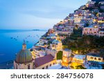 sunset in positano  amalfi... | Shutterstock . vector #284756078