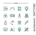 set of flat design  thin line... | Shutterstock .eps vector #284771582