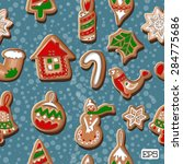 colorful cookies frame seamless ...   Shutterstock .eps vector #284775686