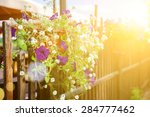 A Pot Of Flowers Hanging On Th...