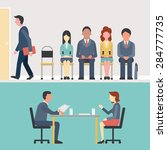 business people  man and woman... | Shutterstock .eps vector #284777735