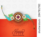 decorative card with rakhi for... | Shutterstock . vector #284781782