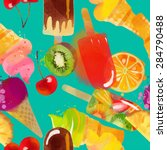 ice cream pattern. watercolor... | Shutterstock .eps vector #284790488