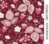 red raspberry seamless pattern. ...   Shutterstock .eps vector #284798522