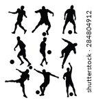 different poses of soccer... | Shutterstock .eps vector #284804912