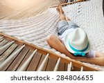 lazy time. man in hat in a... | Shutterstock . vector #284806655