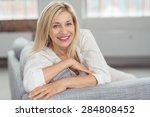 close up pretty blond adult... | Shutterstock . vector #284808452