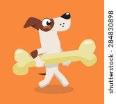 cartoon jack russel dog running ... | Shutterstock .eps vector #284830898