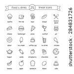 food and drinks linear icons... | Shutterstock .eps vector #284831726