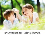 cute boy and young woman in... | Shutterstock . vector #284840906