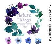 beautiful vector set flowers... | Shutterstock .eps vector #284842442