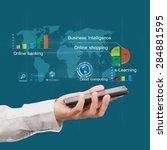 mobile technology concept on... | Shutterstock . vector #284881595