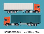 cool semi trailer sleeper and... | Shutterstock .eps vector #284883752