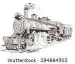 train  steam locomotive... | Shutterstock .eps vector #284884502