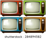 vintage televisions in four... | Shutterstock .eps vector #284894582