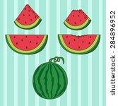 cartoon watermelon set in... | Shutterstock .eps vector #284896952