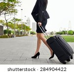 travel business woman pulling... | Shutterstock . vector #284904422