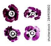 Set Of Purple Watercolor Poppy...