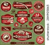 vintage dinosaur label design... | Shutterstock .eps vector #284905865