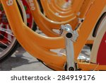 row of yellow bicycles... | Shutterstock . vector #284919176