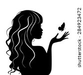 silhouette beauty girl with... | Shutterstock .eps vector #284923472