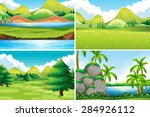 four different beautiful scenes ... | Shutterstock .eps vector #284926112