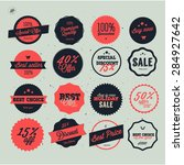 set of vector sales labels and... | Shutterstock .eps vector #284927642