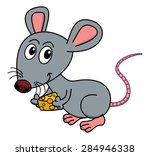 mouse with his piece of cheese | Shutterstock .eps vector #284946338