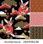 japanese pattern set. seamless... | Shutterstock .eps vector #284948138