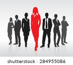 red businesswoman silhouette ... | Shutterstock .eps vector #284955086