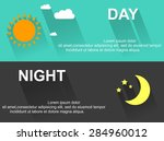 day and night banners with sun... | Shutterstock .eps vector #284960012