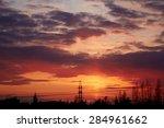 sunset in city. evening urban... | Shutterstock . vector #284961662