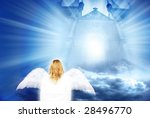 composite of a gate with clouds and divine light - stock photo