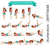 set of cardio exercise for slim ... | Shutterstock .eps vector #284970668