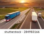 many trucks driving in motion... | Shutterstock . vector #284983166